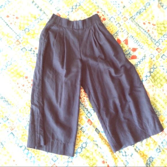 GAP Pants - Gap Navy Linen Cropped Wide Leg Pants